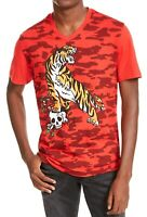 INC Mens T-Shirt Red Size Large L Tiger Skull Camo V-Neck Graphic Tee $29 154