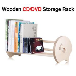 Wooden CD Storage Rack Holder DVD Display Table Mount CD Tower Stand Bookshelf