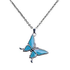 Fashion Decor Jewelry Butterfly Pendant Chain Mood Collana Cambia Colore
