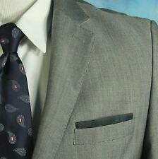 ZARA Man Italy 46 R Gray Super Kid Mohair Wool Pickstitched Pocket Square Blazer