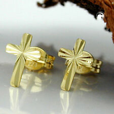 333 Gelbgold Ohrstecker Ohrringe Stecker Kreuz diamantiert 8Kt GOLD Goldohrringe