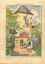 Caricature Anti-Nazis Wolf Loup John Bull Dog Coq Rooster  1938 ILLUSTRATION