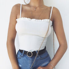 Women Casual Solid Tank Tops Vest Blouse Sexy Sleeveless Crop Top Shirt Cami Top
