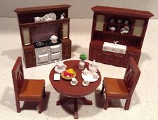 5 Piece Miniature Kitchen Set Furniture Dining Room Table Hutch Chairs Dollhouse