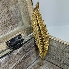 Large Long Leaf Brooch 7.5cm Gold Tone Feather Style