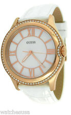 Guess Women's Rose Gold-tone Case MOP Crystals White Leather Band Watch U11679L1