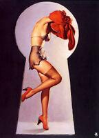 Retro Pinup Girl X-LARGE CANVAS PRINT A1 Vintage Poster Gil Elvgren Keyhole Peek