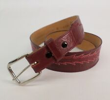 Tony Lama Leather Belt 32 Billets Western Cowgirl Embroidered 62128 Red Vtg USA
