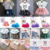 Kid Toddler Baby Girls Birthday Party Dress Outfit T-shirt Tops Tulle Tutu Skirt
