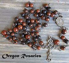 Mahogany Obsidian Gemstone Rosary, Brown, Black, Silver #OR471