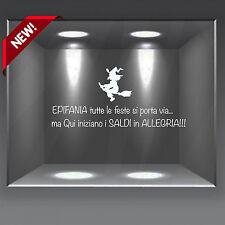 vetrofanie wall sticker adesivo natale vetrine saldi frase epifania befana sales