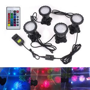 36 LED RGB Pond Spotlight Waterproof IP68 Submersible Lawn Light Bulbs+IR Remote
