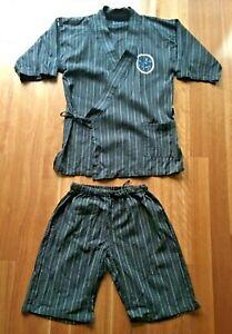 Disney men's Japanese grey stripe Mickey Mouse kimono summer PJ set size L