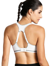 SYROKAN Women's High Impact Sports Bra Wirefree Quick Dry Max Support Racerback