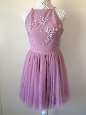 Gorgeous Dusky Pink Beaded Chiffon Short Prom Bridesmaid Dress - Petite Size 10