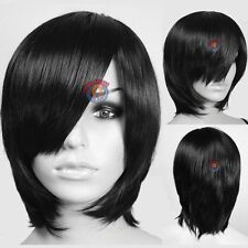Black Long Layer Bob Cut Short Cosplay Wig High Temp - CosplayDNA Wigs F753