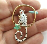Cat brooch white black spotty hand enamelled kitten animal vintage style pin
