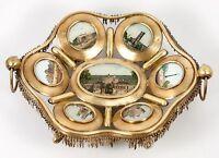 Antique French Paris Expo Grand Tour Souvenir Tray, 7 Eglomise Monument Views