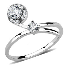 Ladies cz ring band solitaire accents stainless steel silver pretty elegant 260