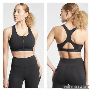 New! Athleta D-DD Black Ultimate Zip Front Sports Bra Powervita Large #657883