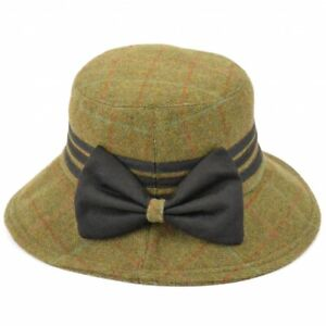 Hawkins Ladies 100% wool Tweed hat with Leather bow One Size,57 cms Last one