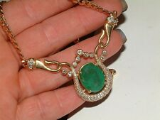18ct  yellow Gold Large Emerald and Diamond  Necklace with Valuation