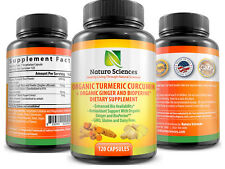 Organic Turmeric Curcumin with BioPerine and Ginger By Naturo Sciences -120 Caps