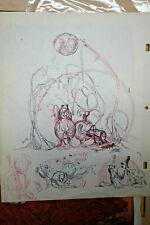 Ralph Bakshi Original Animation Art Drawing Pen & Red Pencil