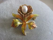 Estate Costume Joan Rivers Dainty Autumn Color Pearl Flower Pin Gold tone