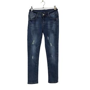 Denim Blue Size 8 Petite Eifle Towel Jewelled Design Distressed Skinny Jeans