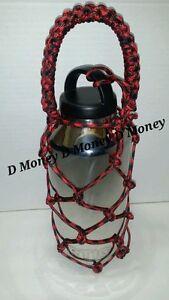 Paracord Bottle holder for Yeti Ozark & Rtic 64oz, or a 36oz, Bottle Red & black