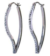 Swarovski Elements Crystal Leaf Hoop Pierced Earrings Rhodium Authentic 7247c
