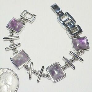 Pale Purple Amethyst Square Cabochon Link Bracelet White Gold Plate Extra Clasp