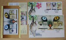 1999 Malaysia Cats, 3v Stamp & 1 pair Mini-sheets on 2 FDC (Kuala Lumpur Cachet)