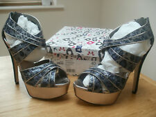 Miss KG Heartfelt Dark Blue Fabric Platform Stiletto Sandal Size UK 7 BNIB