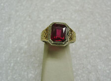VINTAGE 10K YELLOW & WHITE GOLD SYNTHETIC RUBY RING SZ 6 3/4 JULY BIRTH G22-D
