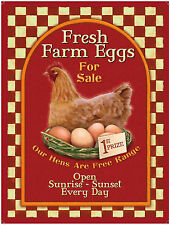 Fresh Farm eggs, Vintage Advert, Cafe Kitchen Chicken Shop, Small Metal Tin Sign