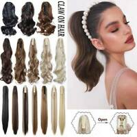 Real Thick Claw On Ponytail Synthetic Hair Piece Clip In Hair Extension as Human