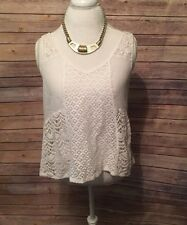 HOLLISTER top womens large LACE CROCHET ivory boho hippie embroidered