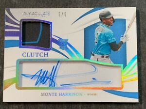 2021 Panini Immaculate PLATINUM SHADOWBOX ROOKIE AUTO PATCH Monte Harrison 5/5