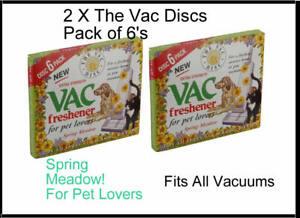 2 x 6 Pack Vac Air Freshner Hoover Vacuum Cleaner Pet Lovers SPRING Meadow Disc