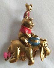 Vintage Disney Goldtone Pooh & Piglet Riding Eeyore Pin-brooch