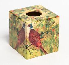 Pheasant Tissue Box Cover Wooden Handmade