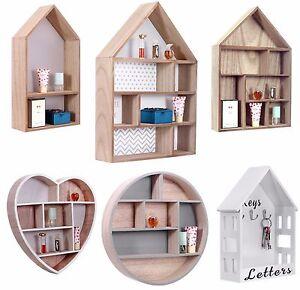 Storage Floating Unit Wall Cube Key Letter Rack Display Wooden Shelf House Shape