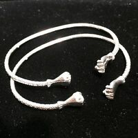 Pair Of Fist Head Handmade West Indian Sterling Silver Bangles