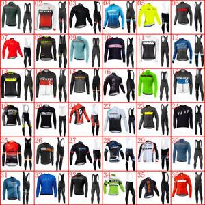 Men Cycling Jersey Bib Pants Set Team Bike Sports Wear Long Sleeve Cycle Outfits