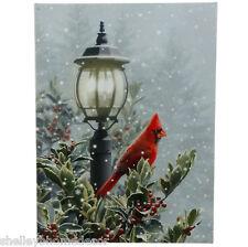 Cardinal on Lamp Post Lighted Christmas Canvas rzchtw 3611412 NEW RAZ