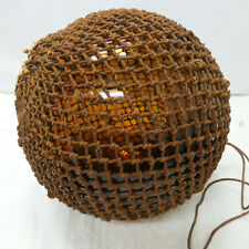 """Vintage Glass Fishing Float 12"""" BEER BOTTLE BROWN Japanese Nautical Netted"""