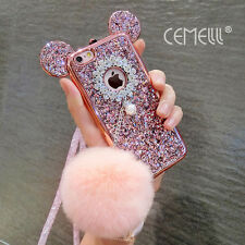Mouse Ear Glitter Pearl Furry Ball Neck Strap For iPone 6/6+/7/7 Plus Case Cover