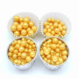 Gold Beads Pearl Sugar Ball Fondant Cake Baking Sprinkles Gold Ball DecoratiWCA